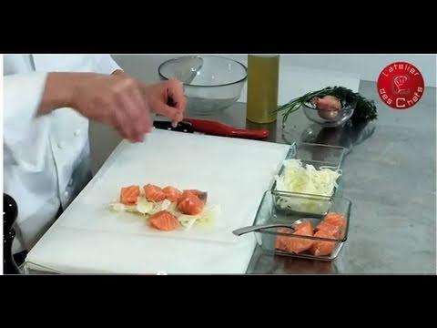 recette-de-papillote-de-saumon-au-fenouil,-crème-d'aneth