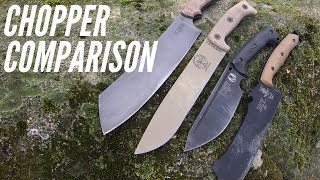 LARGE Survival Knife / Chopper Comparison: ESEE Knives, Work Tuff Gear, and TOPS Knives