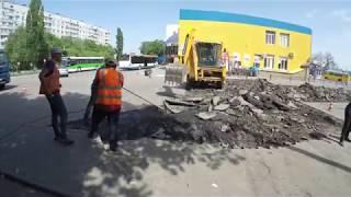 Төсемін жөндеу аумағында автостанция Чугуеве. 07.05.2018