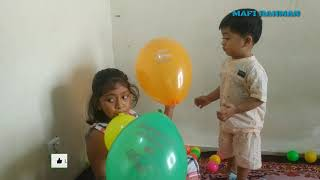 funny babies playing with balloon ! baby funny videos
