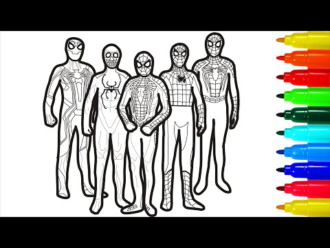 Spiderman Gang Coloring Pages | Spiderman Gang Coloring Pages With Colored Markers