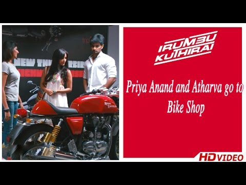 Irumbu Kuthirai Tamil Movie - Priya Anand and Atharva go to Bike Shop