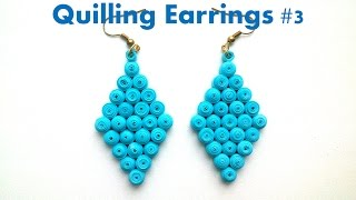 How to make Blue Quilling Earrings Using Paper Quilling #3 -Creative Paper