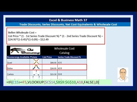 Excel & Business Math 37: Trade Discounts, Series Discounts, Net Cost Equivalents & Wholesale Cost