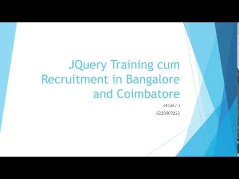 JQuery Training cum Recruitment in Bangalore and Coimbatore-etcoe.in