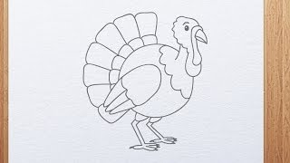 How to Draw a Cartoon Turkey | Thanksgiving Day