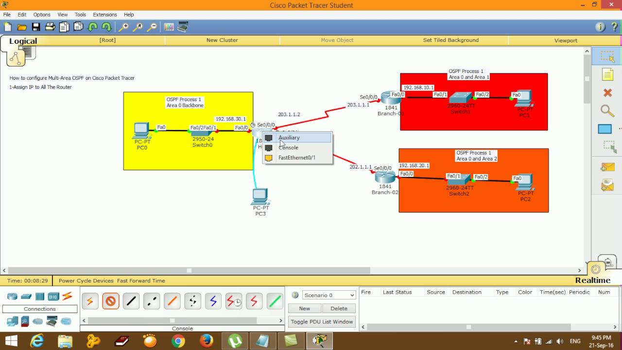 how to configure multi area ospf on cisco packet tracer step by step