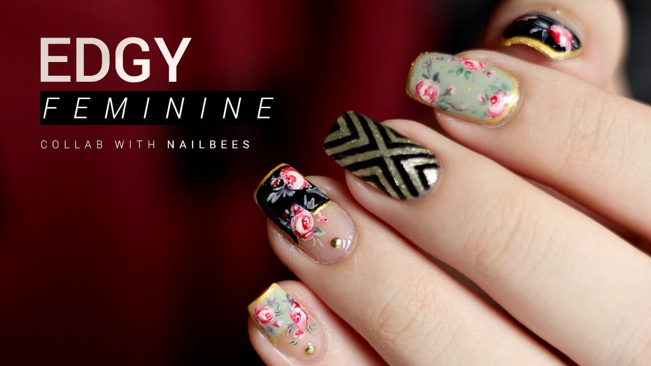 Nail Art Ideas edgy nail art : Edgy Feminine Floral Nail Art | Followthatway x NailBees - YouTube