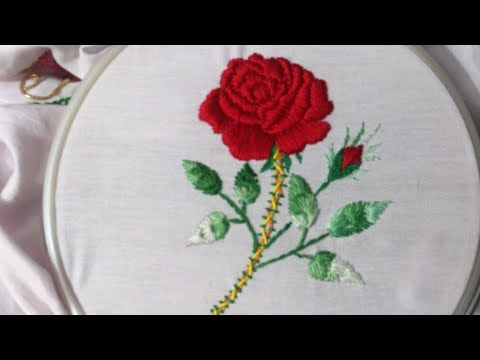 Hand embroidery stitches tutorial.Padded Satin stitch. Satin stitch embroidery tutorial.