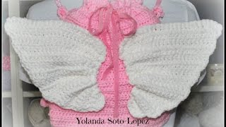 How to Crochet backpack  with Angel Wings - video 2 (Subtitulos en espanol)