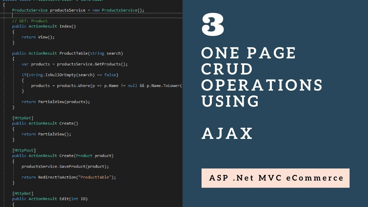 CRUD Operations in One Page using Ajax with ASP .Net MVC - Session 3