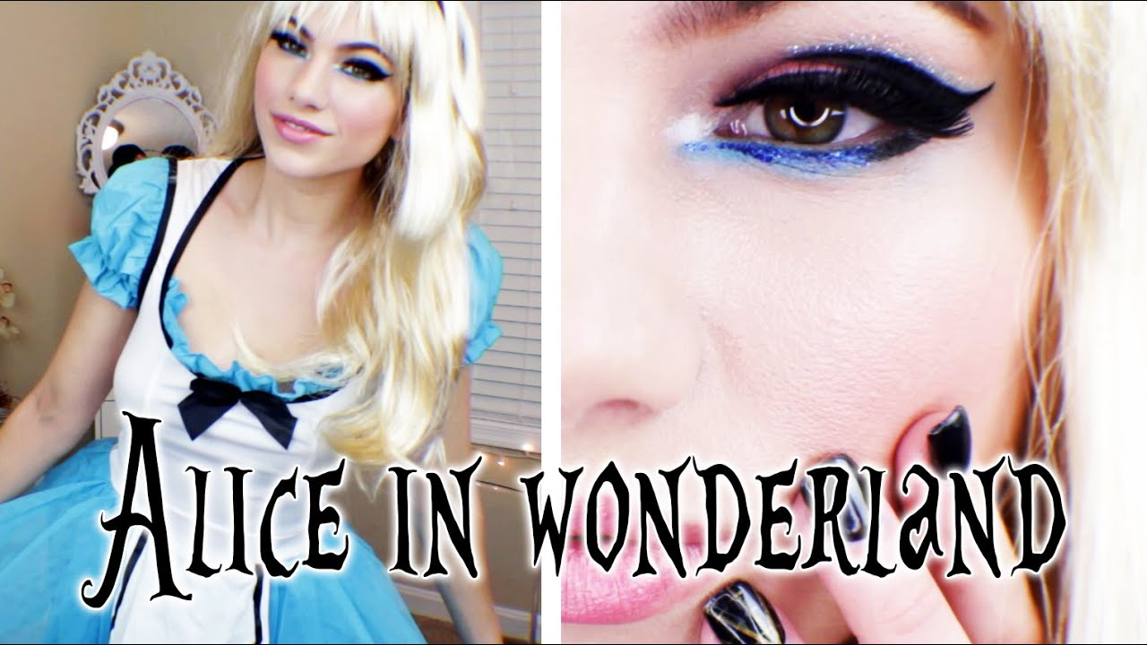 alice in wonderland makeup, hair, & costume halloween look 2014