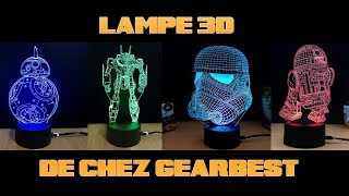 Lampe 3d starwars et robotech de chez gearbest
