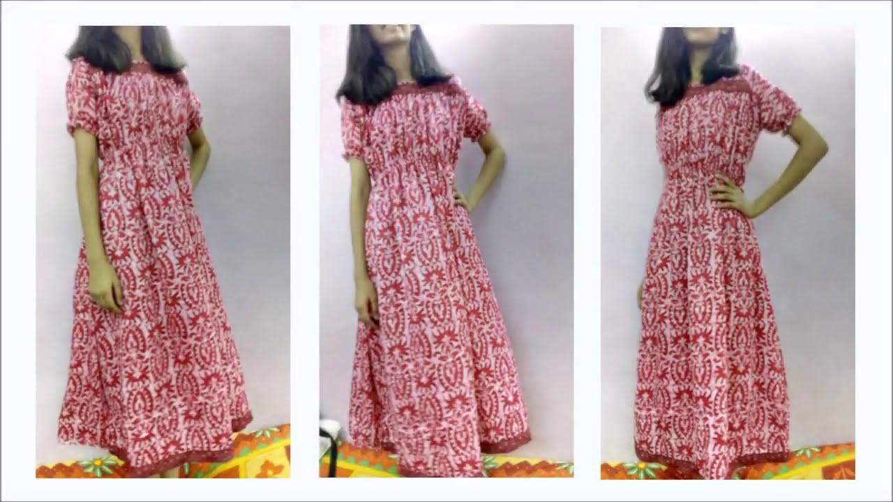 योक मैक्सी ड्रेस कैसे बनाये : कटाई और सिलाई Yoke gown - Maxi Dress / Nighty  Cutting - Part - I Hindi