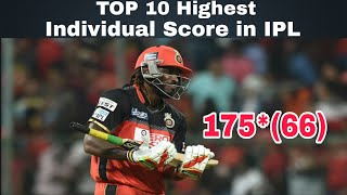 Top 10 highest individual score in IPL (2008 to 2018)