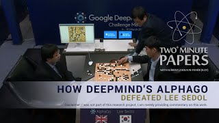 Two+ Minute Papers - How DeepMind's AlphaGo Defeated Lee Sedol(This time around, Google DeepMind embarked on a journey to write an algorithm that plays Go. Go is an ancient chinese board game where the opposing ..., 2016-03-15T09:02:28.000Z)