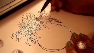 Vase Of Flower Drawing and Coloring