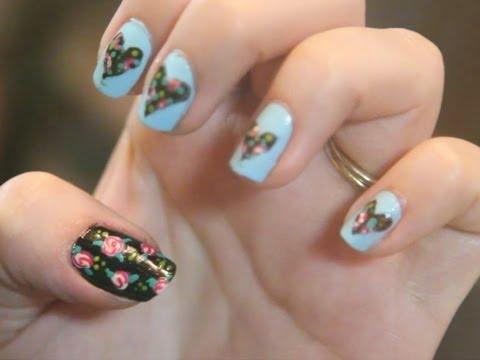 vintage floral nails - diy spring