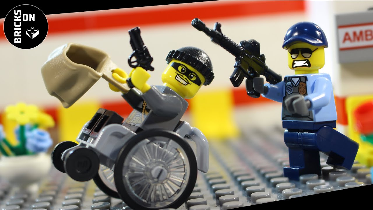 Lego Wheelchair Bank Robbery Hospital Heist Dashing Theft Farm Steal Crane Pillage Stop Motion Brick