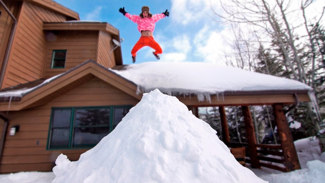 Roof Jumping Into Giant Snow Pile Youtube