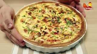 Открытый пирог с куриным филе и беконом «По-петелински»