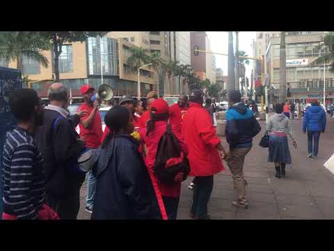 South African Post Office Workers in Durban protesting outside the Post Office.