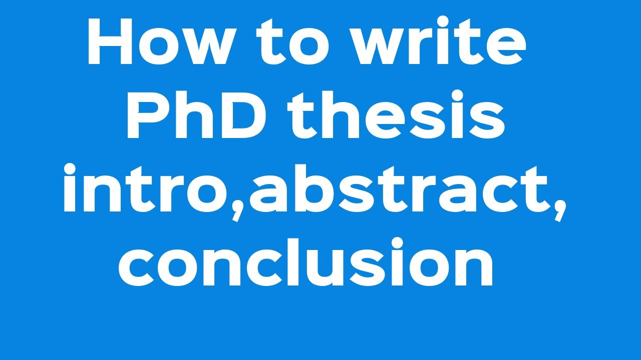 Phd thesis discussion and conclusion