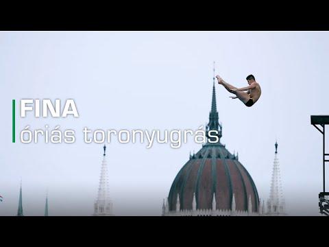 FINA vizes világbajnokság - óriás toronyugrás a Batthyány téren (hosszú)