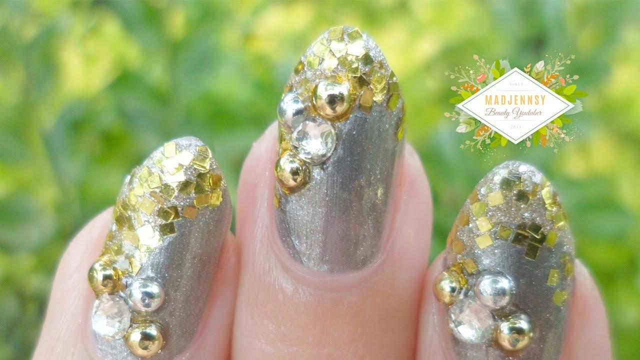 Nail Art - Diseño de uñas Año Nuevo Colaboración 2016 - YouTube