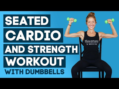 Seated Cardio and Strength Workout With Dumbbells 30 MIN No Impact Full Body Workout (INTENSE!)
