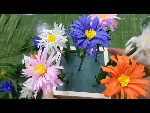 How to make easy paper flower by crepe paper part 2