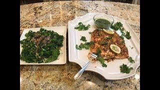 Baked Salmon, Chilli Chutney & Sautéed Kale with Garlic by Suganthi Su