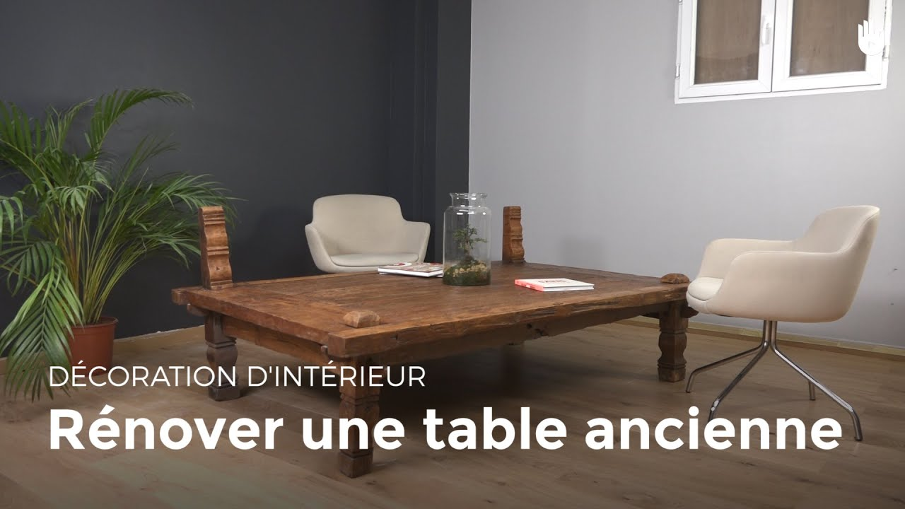 R nover une table ancienne bricolage youtube for Table de salon ancienne