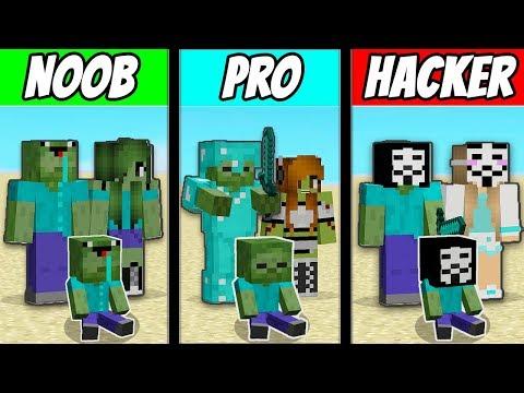 Minecraft - NOOB vs PRO vs HACKER : FAMILY ZOMBIE LIFE in Minecraft ! Animation thumbnail