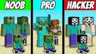 Minecraft - NOOB vs PRO vs HACKER : FAMILY ZOMBIE LIFE in Minecraft ! Animation