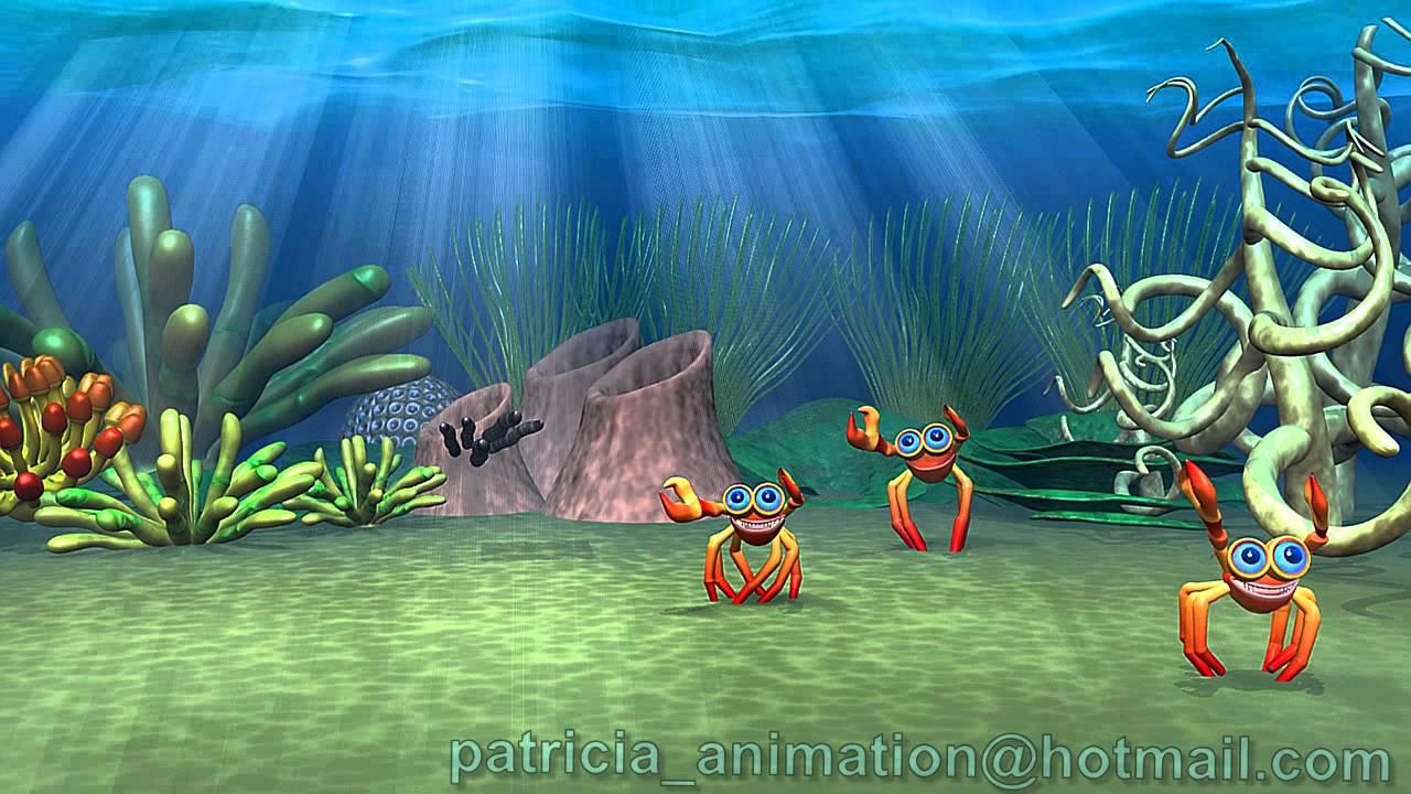 Underwater Animation, Cartoon Crab, Underwater lights ...