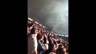Leeds fans at Leicester (smoke bomb)