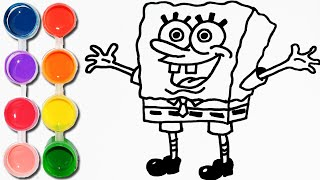 How to Draw & Color spongebob squarepants | Drawing & Coloring Learning | Toddlers Lids learn Colors