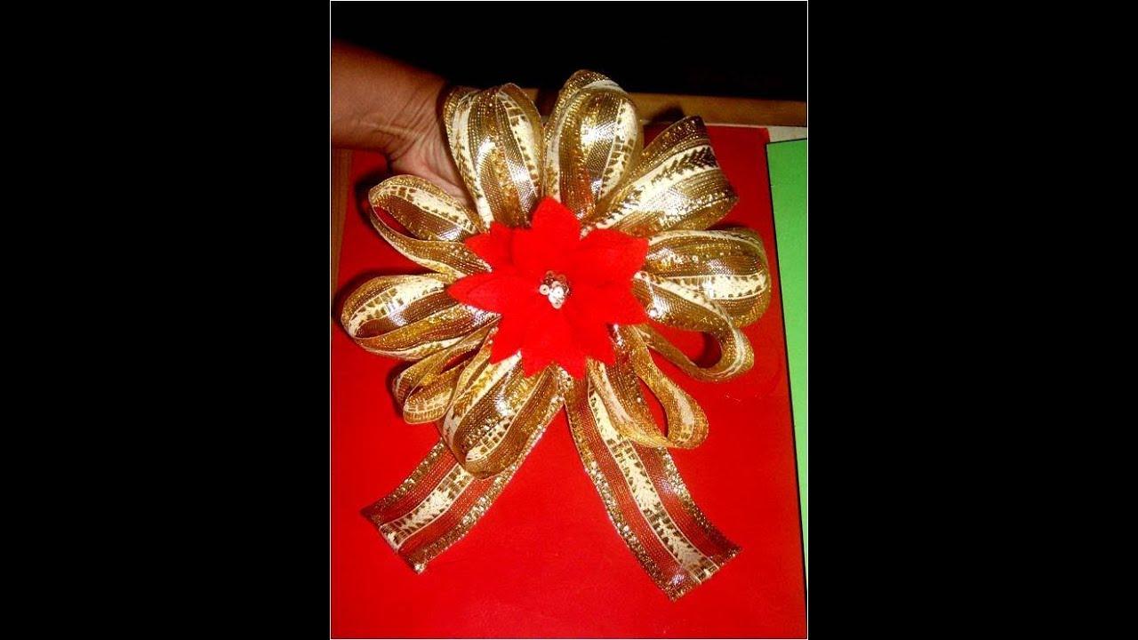 Mo os navide os con flores en cintas para regalos youtube - Lazos para arbol de navidad ...