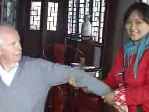 The anthropologist being given an arm massage in China - 2007