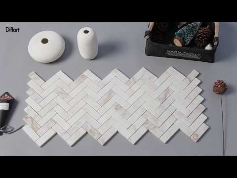 diflart-1×3-herringbone-calacatta-pindos-gold-veins-mosaic-tile