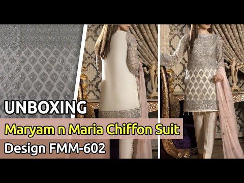 83f1c16a05 New MARYAM N MARIA Chiffon Suit 2019 | Unbox | Latest Pakistani Dress  Design FMM-602 - YouTube