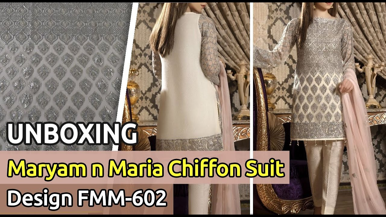 ddf510851d New MARYAM N MARIA Chiffon Suit 2019 | Unbox | Latest Pakistani Dress  Design FMM-602