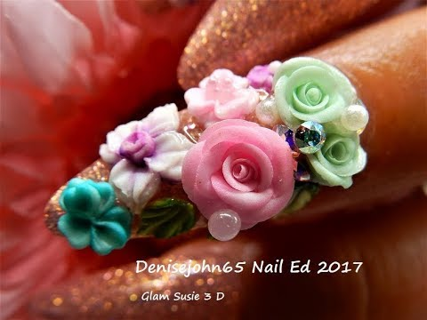 Birthday Cake Rose Nails -------------------Glam Susie 3 D Flowers Review ---AMAZING