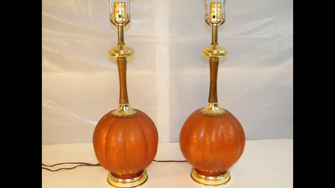 1960u0027S VINTAGE MID CENTURY RETRO AMBER GLOBE BALL TABLE LAMPS HOLLYWOOD  REGENCY