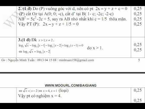 DE THI THU DAI HOC MON TOAN KHOI A,B,D DAP AN CAU VA Y 2,3