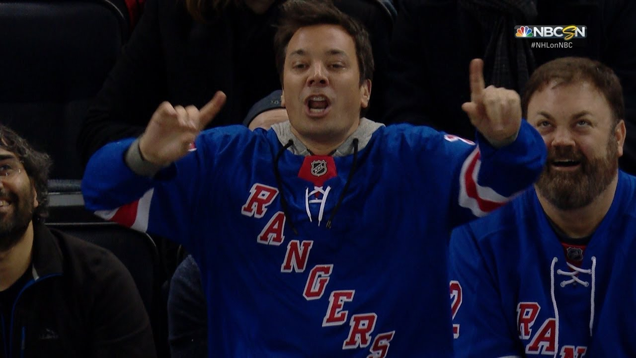 Jimmy Fallon Shows Off Some Moves At The Rangers Game Youtube