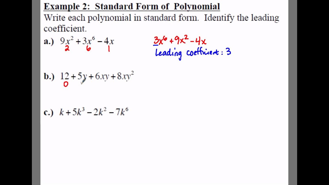 Algebra 1 81 notes example 2 standard form of polynomial youtube algebra 1 81 notes example 2 standard form of polynomial falaconquin