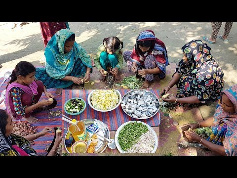 Winter Vegetables & Olive Barb Fish Curry Cooking | Fishing From Ponds & Prepared For Village Kids