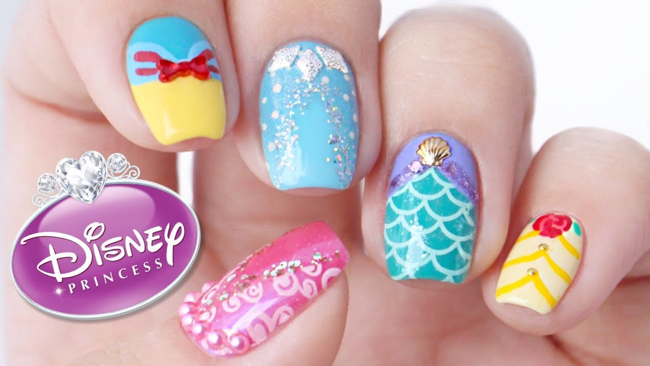 Disney Princess Nail Art ... - Disney Princess Nail Art Designs! - YouTube